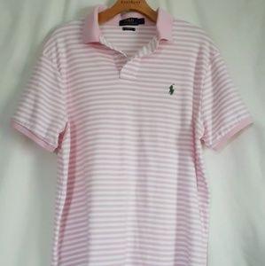 Polo Ralph Lauren Pink White Custom Fit Polo Sz L